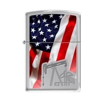 Zippo Lighter - Oil Derrick Flag High Polish Chrome - Lighter USA