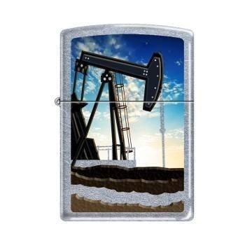 Zippo Lighter - Oil Well Street Chrome - Lighter USA
