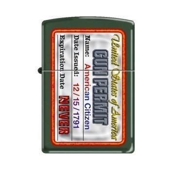 Zippo Lighter - Gun Permit Green Matte - Lighter USA
