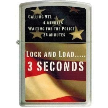 Zippo Lighter - Lock & Load Brushed Chrome - Lighter USA