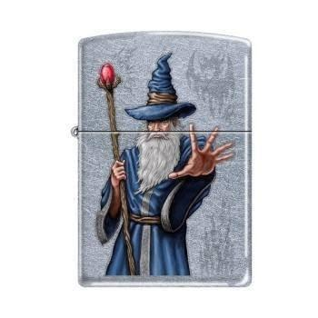Zippo Lighter - Wizard with Staff Street Chrome - Lighter USA