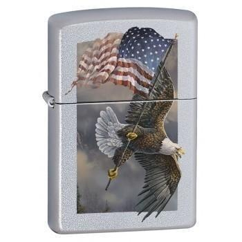 Zippo Lighter - Old Glory at Half Dome V2 Satin Chrome - Lighter USA