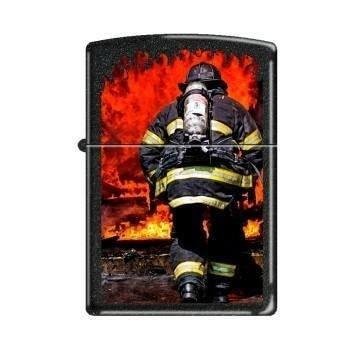 Zippo Lighter - Into the Flames Black Crackle - Lighter USA