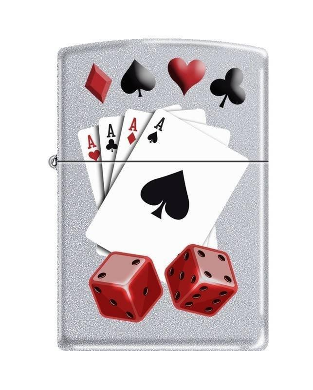 Zippo Lighter - 4 Aces and Dice Satin Chrome - Lighter USA