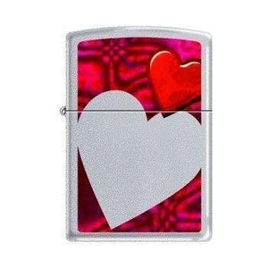 Zippo Lighter - Hearts Satin Chrome