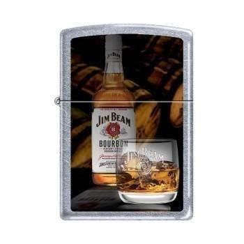 Zippo Lighter - Jim Beam Bottle with Glass Street Chrome - Lighter USA