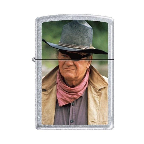Zippo Lighter - John Wayne Rooster Cogburn Satin Chrome - Lighter USA - 1