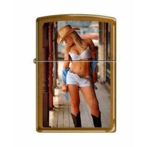 Zippo Lighter - Sexy Cowgirl White Top White Toffee