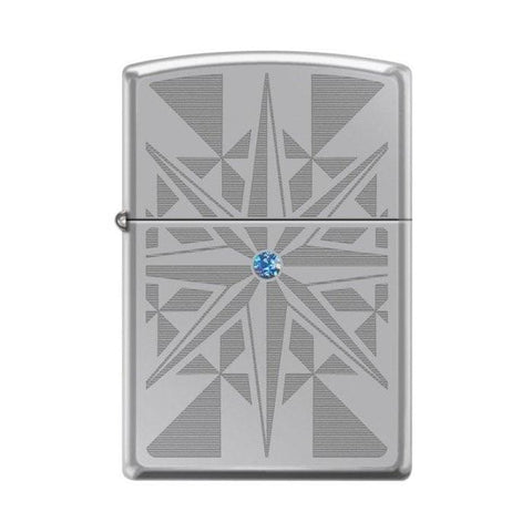 Zippo Lighter - Star w/ Blue Swarovski Crystal High Polish Chrome - Lighter USA - 1