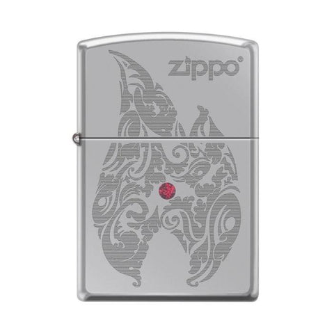 Zippo Lighter - Flame w/ Red Swarovski Crystal High Polish Chrome - Lighter USA - 1