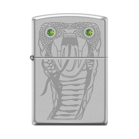 Zippo Lighter - Snake Eyes w/ Green Swarovski High Polish Chrome - Lighter USA - 1