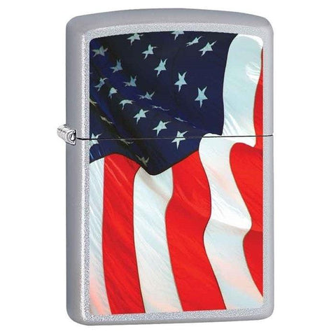 Zippo Lighter - Old Glory Satin Chrome - Lighter USA - 1