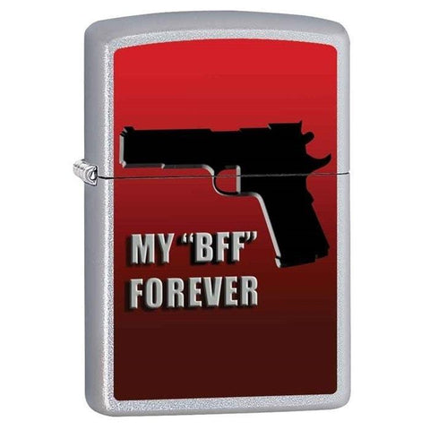 Zippo Lighter - My BFF Forever Satin Chrome - Lighter USA