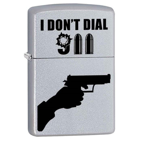 Zippo Lighter - I Don't Dial 911 Satin Chrome - Lighter USA