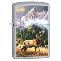 Zippo Lighter - Elk Call to Challenge Satin Chrome - Lighter USA - 1