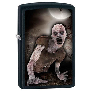 Zippo Lighter - Zombie & Moon Black Matte