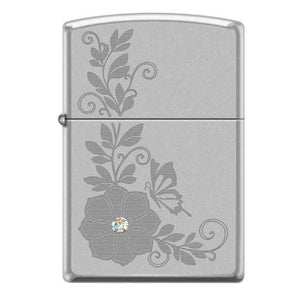 Zippo Lighter - Flower w/ Swarovski Crystal Satin Chrome