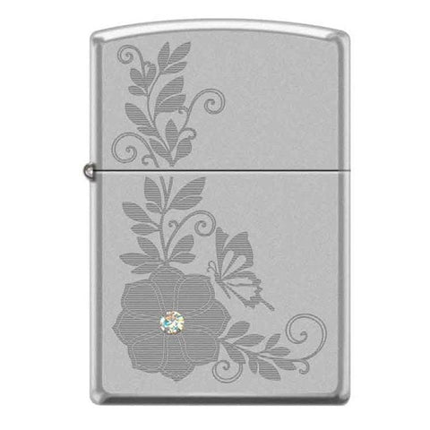 Zippo Lighter - Flower w/ Swarovski Crystal Satin Chrome - Lighter USA - 1