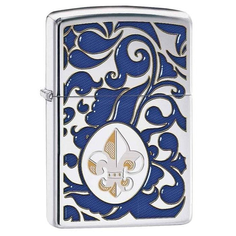 Zippo Lighter - Fleur De Lis High Polish Chrome - Lighter USA - 1