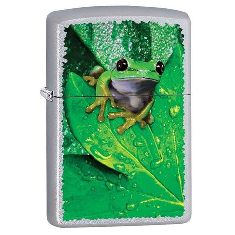 Zippo Lighter - Frog On Leaf Satin Chrome - Lighter USA - 1