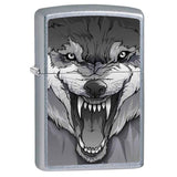 Zippo Lighter - Snarling Wolf Satin Chrome - Lighter USA - 1