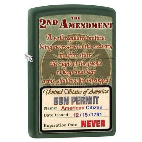 Zippo Lighter - 2nd Amendment Gun Permit Green Matte - Lighter USA - 1