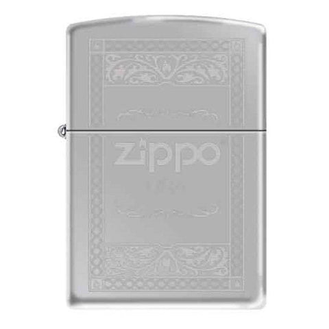 Zippo Lighter - Logo Fancy High Polish Chrome - Lighter USA - 1