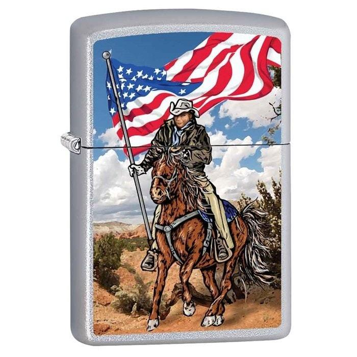 Zippo Lighter - Cowboy on Horse w/ Flag Satin Chrome - Lighter USA