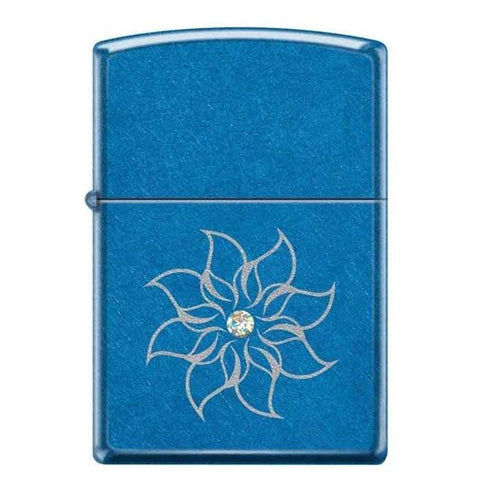 Zippo Lighter - Flower w/ White Swarovski Crystal - Lighter USA - 1