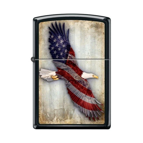 Zippo Lighter - USA Soaring Eagle Black Matte - Lighter USA