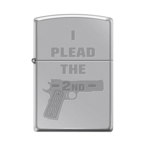 Zippo Lighter - I Plead The 2nd High Polish Chrome - Lighter USA - 1