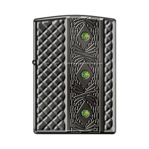 Zippo Lighter - Triple Stone Carved Heavy Walled w/ Swarovski Crystals
