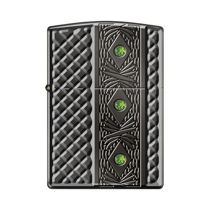 Zippo Lighter - Triple Stone Carved Heavy Walled w/ Swarovski Crystals - Lighter USA