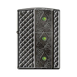 Zippo Lighter - Triple Stone Carved Heavy Walled w/ Swarovski Crystals - Lighter USA - 1