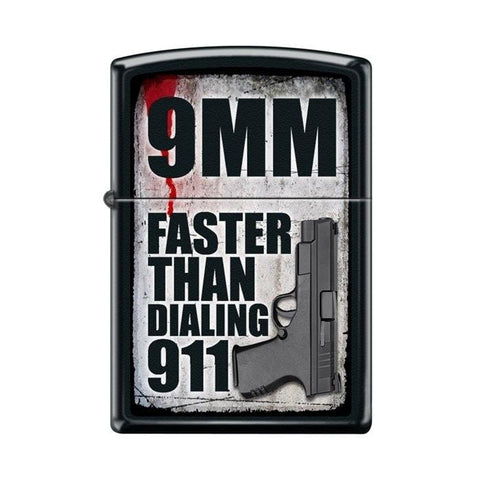 Zippo Lighter - 9MM Faster Than Dialing 911 Black Matte - Lighter USA - 1