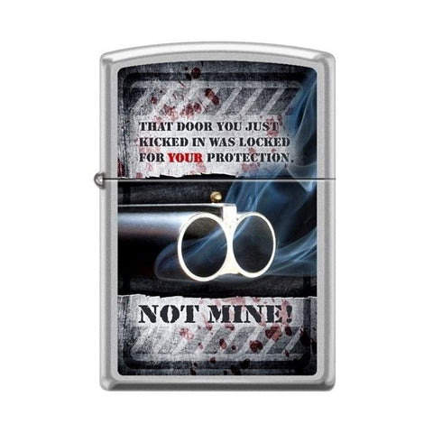 Zippo Lighter - The Door Was Locked For Your Protection Satin Chrome - Lighter USA - 1