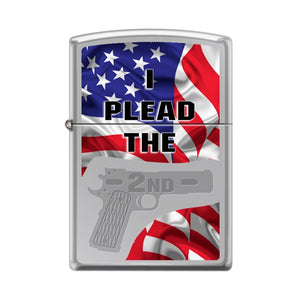 Zippo Lighter - I Plead the 2nd High Polish Chrome