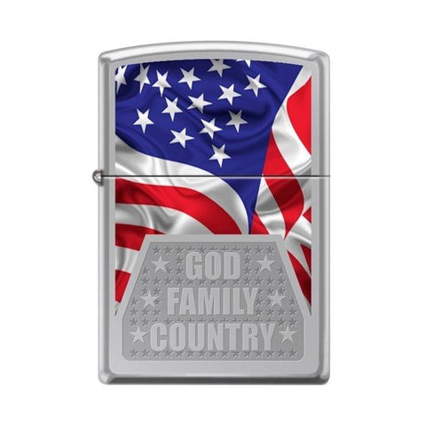 Zippo Lighter - God Family Country High Polish Chrome - Lighter USA - 1