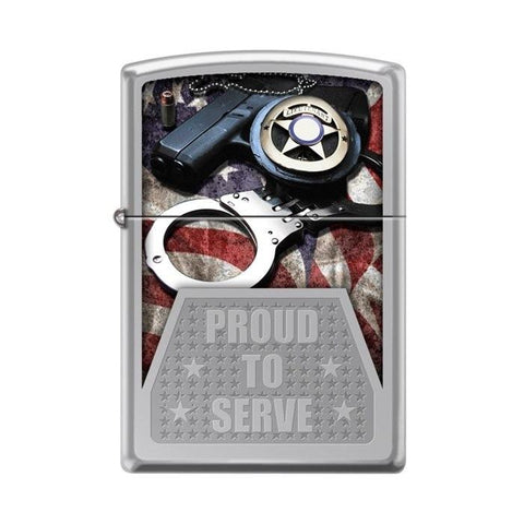 Zippo Lighter - Proud To Serve Law Enforcement High Polish Chrome - Lighter USA - 1