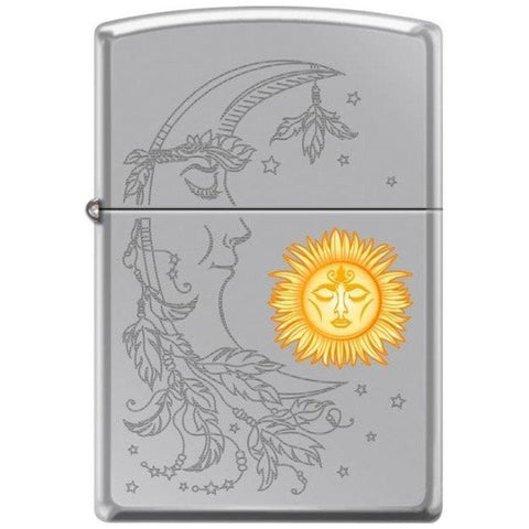 Zippo Lighter - Sun & Moon Hi Polish Chrome - Lighter USA - 1