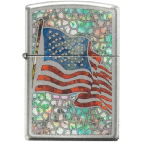 Zippo Lighter - American Flag Fuzion Hi Polished Chrome - Lighter USA - 1