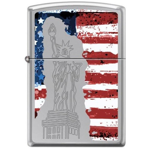 Zippo Lighter - Statue of Liberty American Flag Hi Polished Chrome - Lighter USA - 1