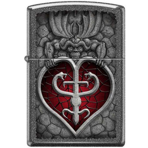 Zippo Lighter - Gargoyle And Heart Iron Stone