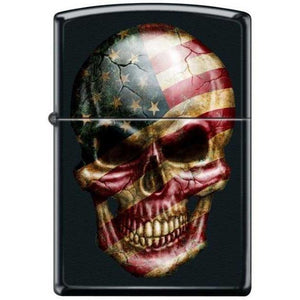 Zippo Lighter - Skull With Flag Black Matte