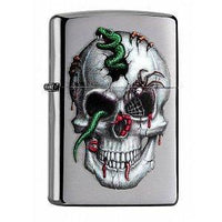Zippo Lighter - Skull & Snakes Brushed Chrome - Lighter USA