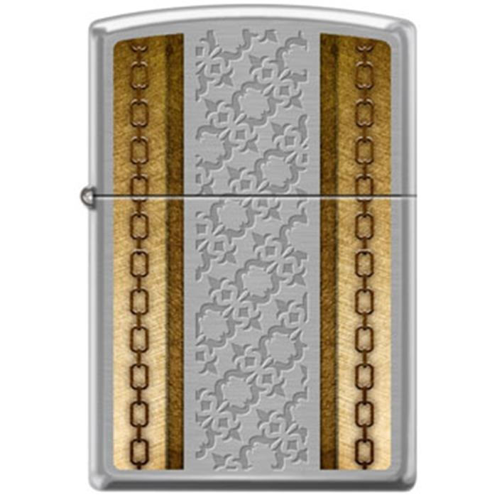 Zippo Lighter - Chains With Deep Etching Brushed Chrome Lighter Zippo - Lighter USA