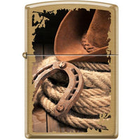 Zippo Lighter - Hat Horseshoe Rope Brushed Brass