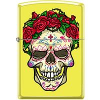Zippo Lighter - Skull With Roses Neon Yellow