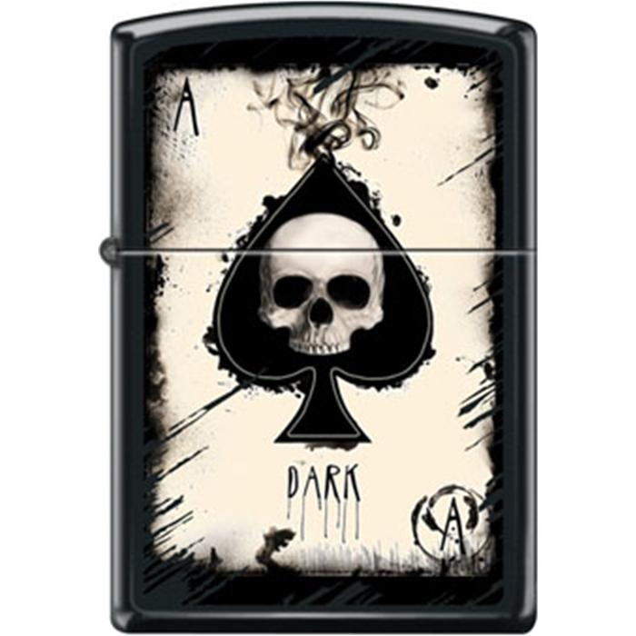 Zippo Lighter - Dark Ace Skull Black Matte Lighter Zippo - Lighter USA