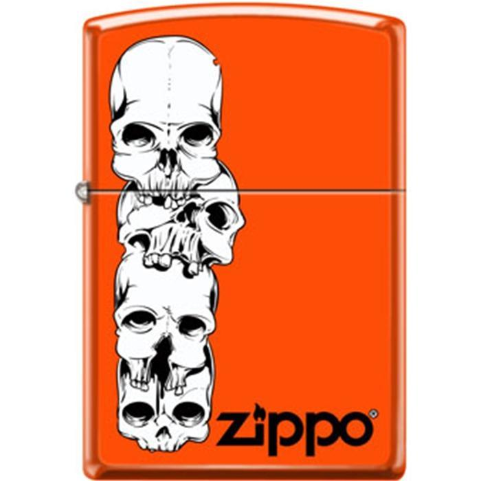 Zippo Lighter - Skulls Stacked With Logo Neon Orange Lighter Zippo - Lighter USA